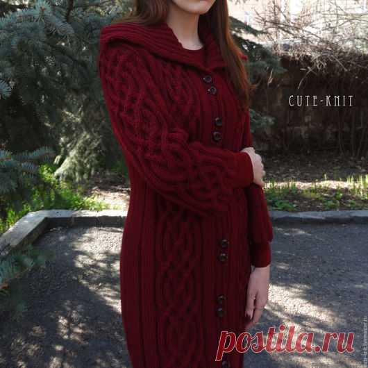 06bd4d9e2157 Купить Вязаный кардиган длинный 'Марсала' цвет бордовый - бордовый ...