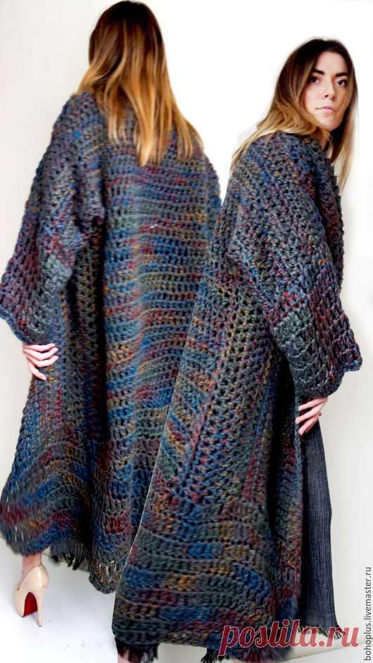 купить вязаное пальто оверсайз ася темно серый однотонный