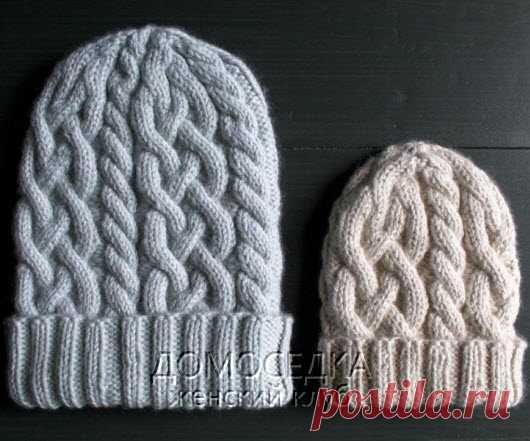 вязаная шапка с косами домоседка шапки спицами постила