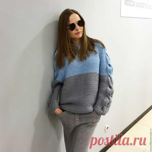 купить свитер ручной работы комбинированный свитер свитер