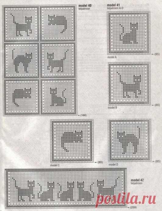 Нежные вязаные пледики с котами