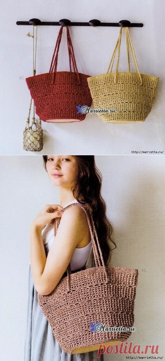 e9f037d1596a Вяжем крючком летнюю сумку с кожаным дном. Схема вязания | Вязание ...