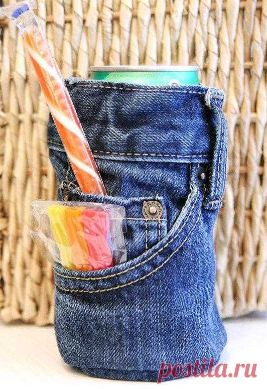 Pockets for glasses or cans from old jeans - not to carry in yum-yum hands.
