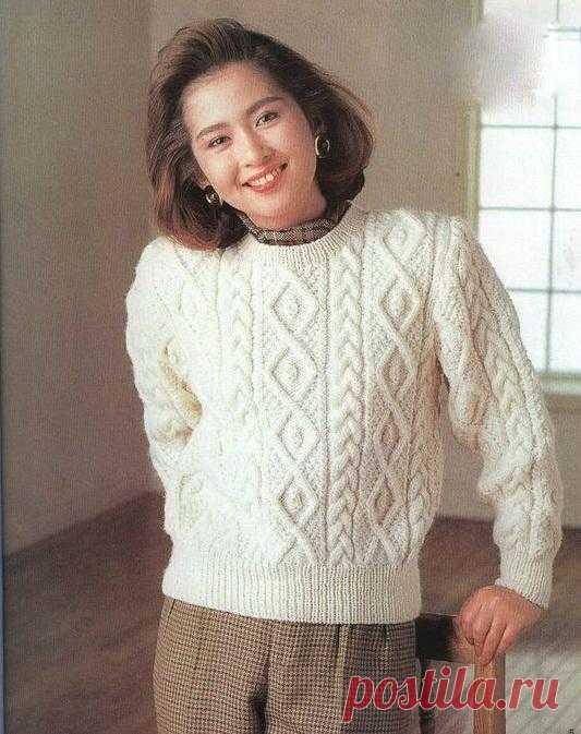 Белый пуловер с аранами | Шкатулочка для рукодельниц