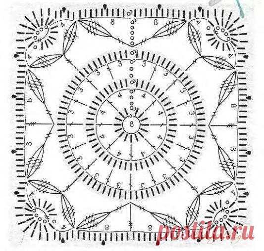 Большая коллекция схем вязания квадратных мотивов крючком. Отличный вариант для летних пледов и даже одежды.