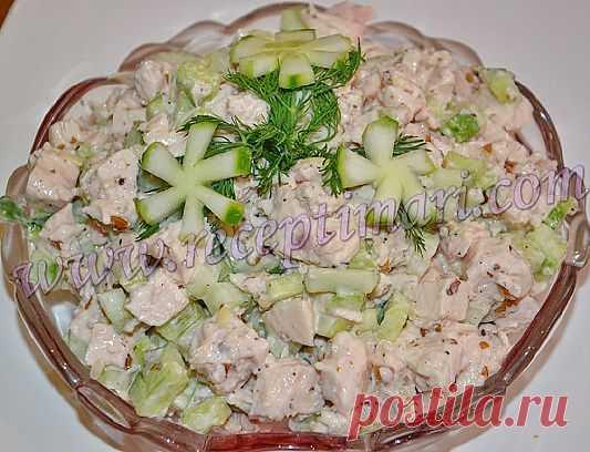 Салат из курицы и огурцов | Рецепты Мари