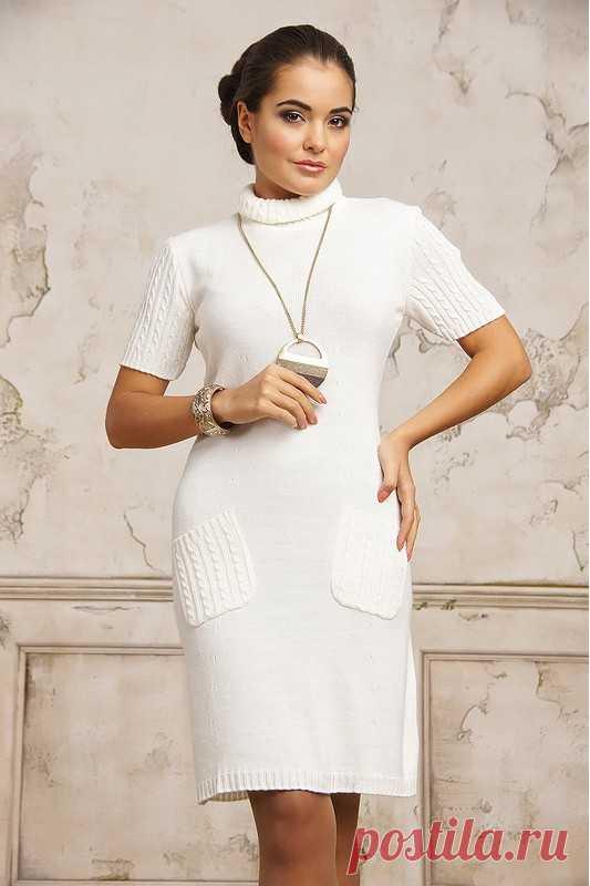 280db4a25ac Вязаное белое платье с коротким рукавом купить за 2 400 р. в интернет  магазине Modamio