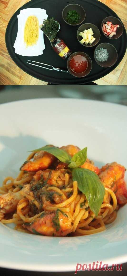 La pasta con el cangrejo de mar - sin ceremonia. La receta para VOK