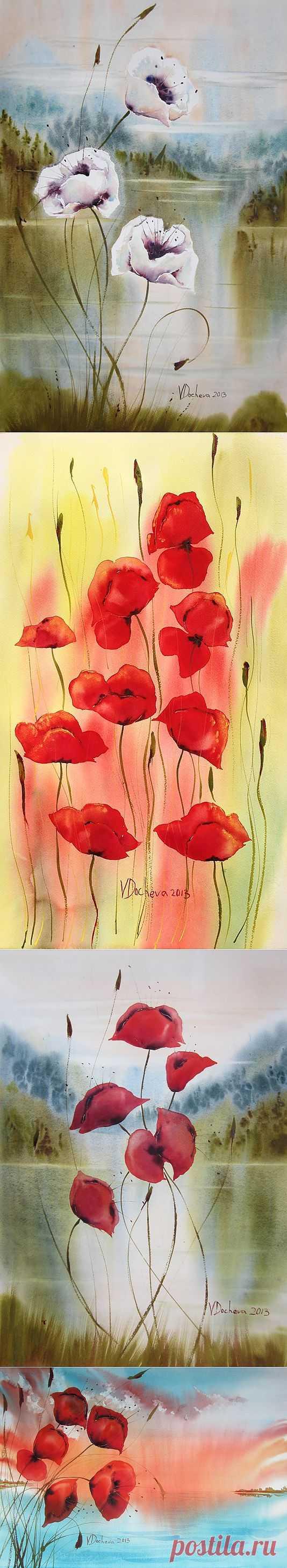 Veneta Docheva.Акварельные цветы