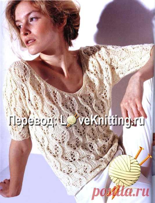 Ажурный пуловер на лето | Loveknitting.ru