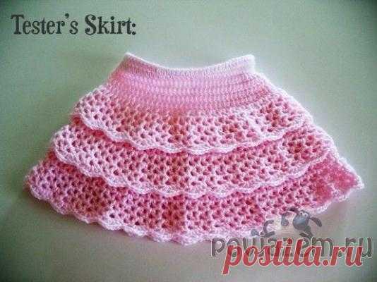 Детская юбка крючком с рюшами