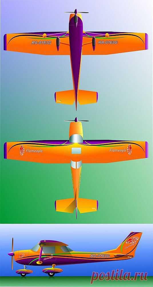 Оранжевая Цессна-150.