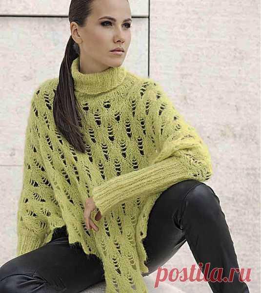 Ажурный свитер-пончо.