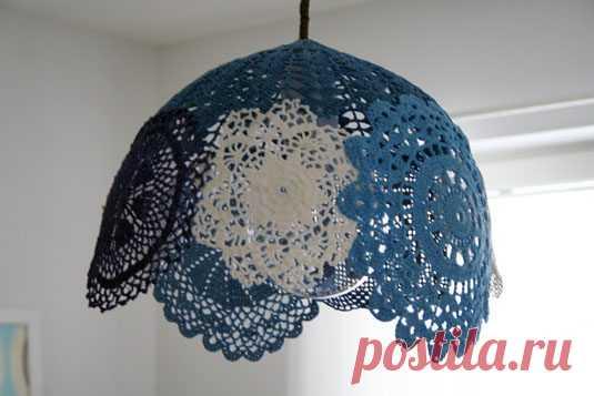 Абажур для люстры из вязаных салфеток — Сделай сам, идеи для творчества - DIY Ideas