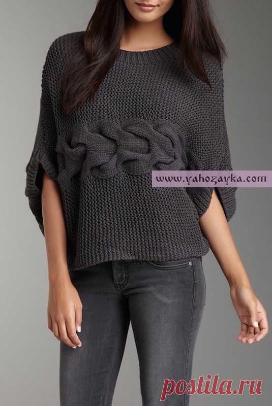 короткий свитер связанный поперек модные вязаные кофты на 2016 год