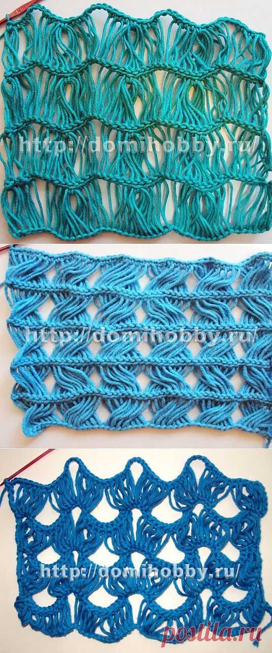 Ажурные узоры крючком из вытянутых петель