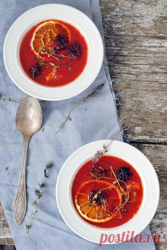 Томатно-апельсиновый суп. (Рецепт по клику на картинку).