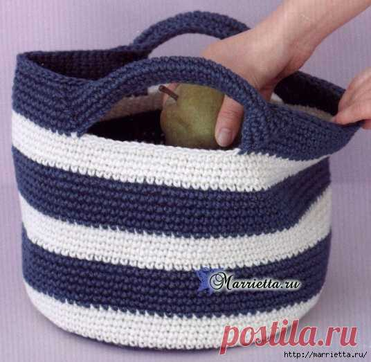 Летняя сумочка с ручками. Схема вязания крючком