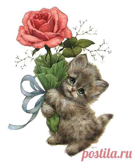 Днем рождения, открытка котенок дарит цветок