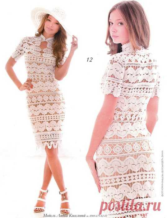 Очень красивое платье вязаное крючком. Схема прилагается
