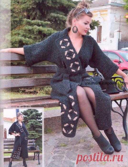 f62bba03701 Длинное пальто Длинное пальто крючком. Женское пальто с пояском и  элементами мотивов крючком