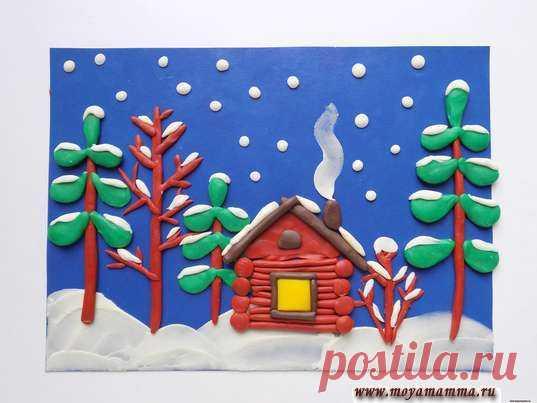 Зимний пейзаж из пластилина Мастер-класс по изготовлению
