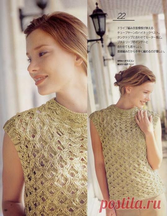 Ажурная блузка-топ спицами.