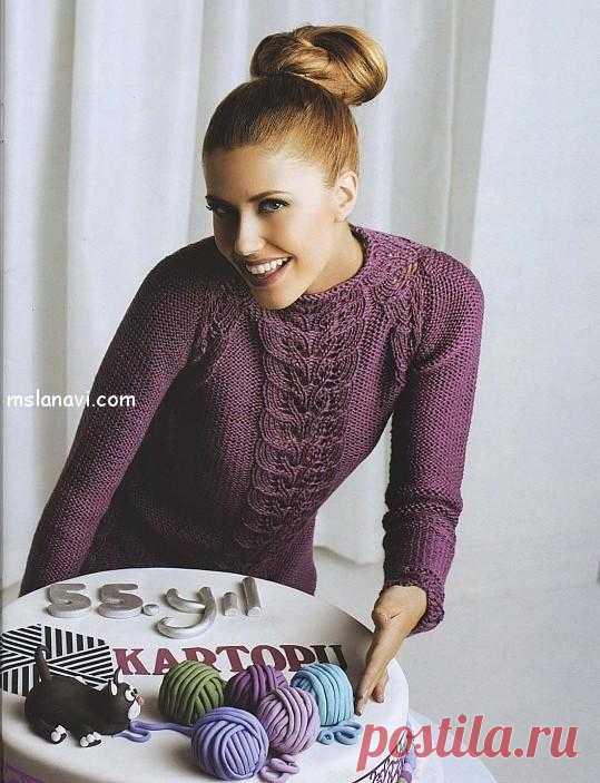 Вязаный ажурный пуловер с узором листочки | МИСС ЛАНА ВИ