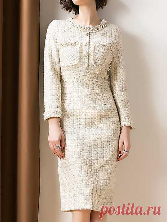 d61a7b4d Stylewe Formal Dresses Long Sleeve Casual Dresses Daytime Sheath Crew Neck  Beaded Elegant Dresses