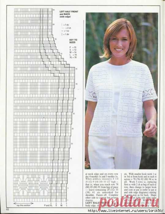 Белый летний жакет филейным вязанием.MAGIA CROCHET 112