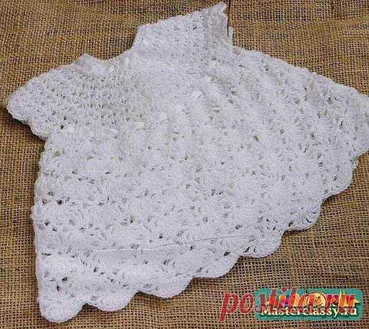 Крестильное платье для девочки на 0-3 месяца, вязаное крючком. Схема и описание / Вязание / Вязание новорожденным
