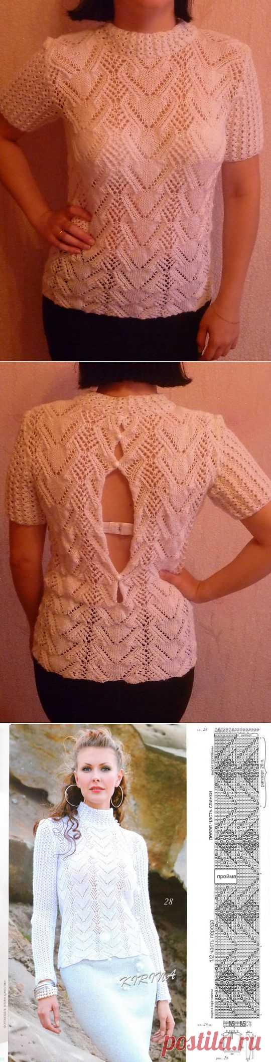 ажурный пуловер с вырезом на спине | РУКОДЕЛИЕ