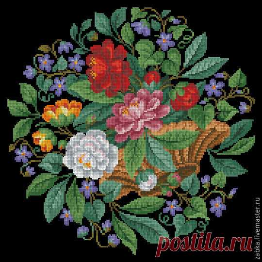 Купить Цветочная корзинка с фиалками (схема вышивки) - комбинированный, схема вышивки, схема для вышивки