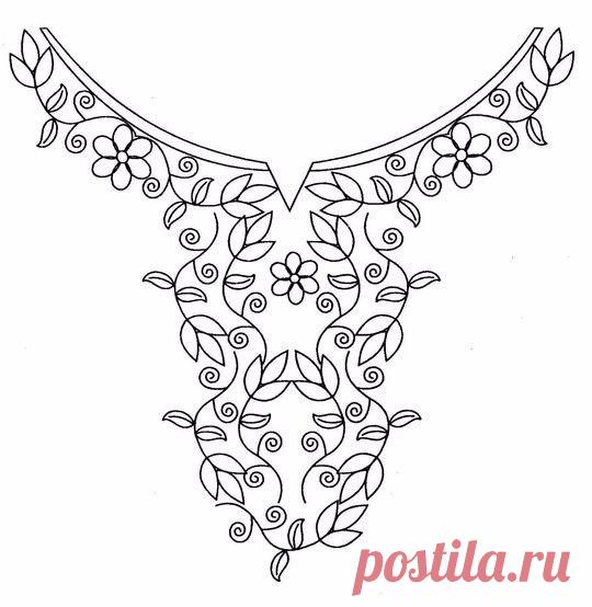 Потрясающие схемы для вышивки горловины платьев и блузок
