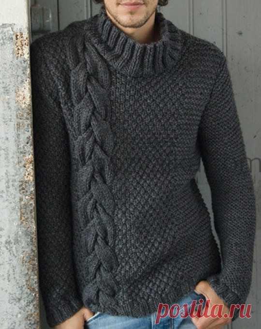 Мужской свитер спицами со схемами и описанием для начинающих. Поэтапное описание вязания мужского свитера