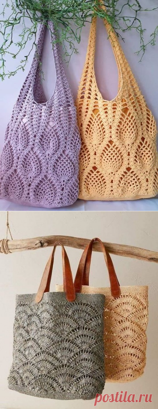 Сумочки-шоперы крючком. Схемы. / knittingideas.ru