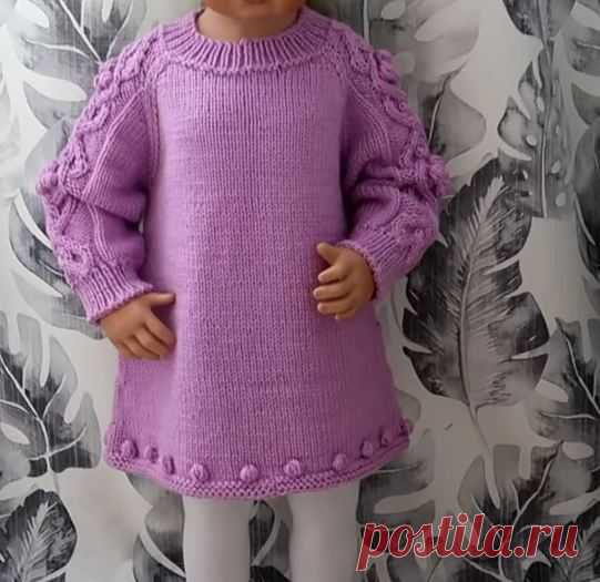 Вязаное детское платье – очень комфортное и выглядит нарядно! (Вязание спицами) – Журнал Вдохновение Рукодельницы