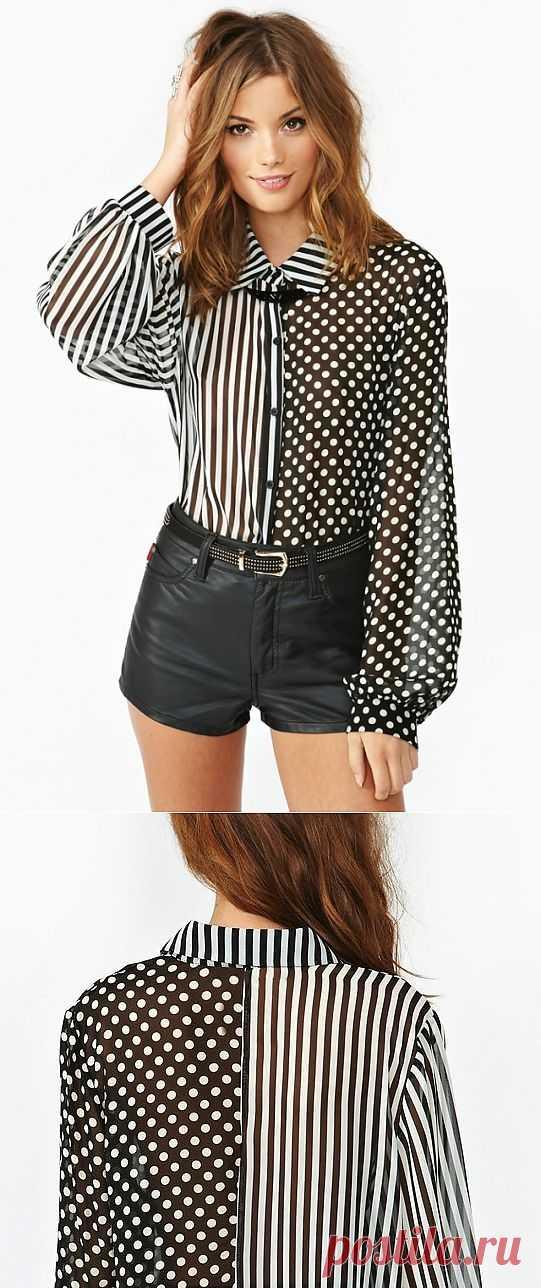 Горохово-полосатая блузка / Блузки / Модный сайт о стильной переделке одежды и интерьера