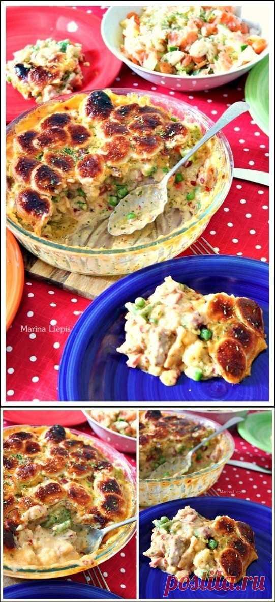 Bкусно-сочный рецепт курицы с овощами под тестом (для получения рецепта нажмите 2 раза на картинку)
