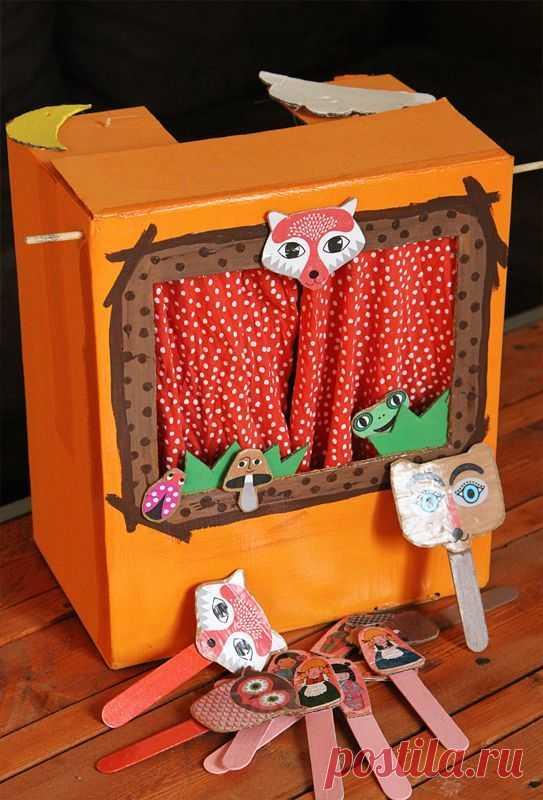 (268) Petites marionnettes en papier recyclé pour mini théâtre