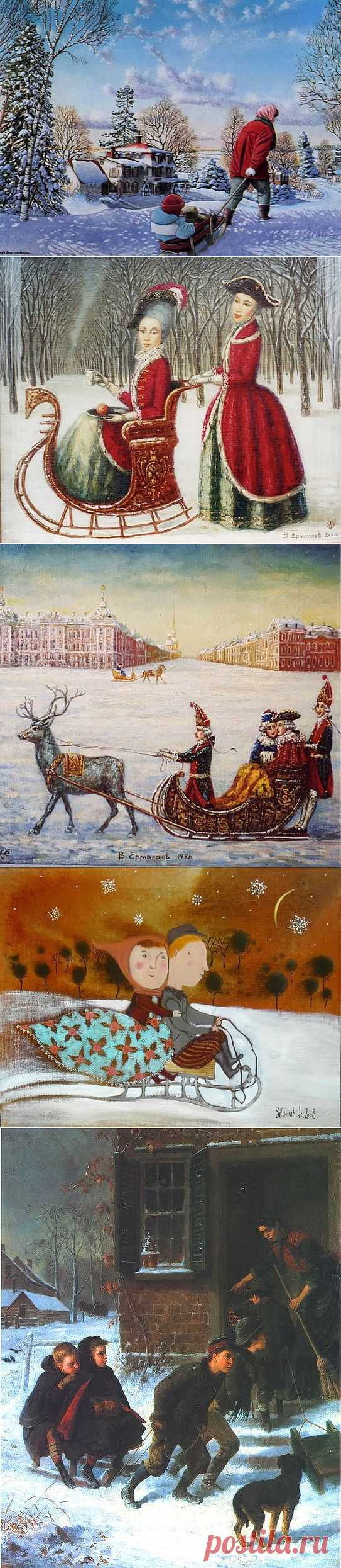 CHILDREN IN PAINTING (PART 99 - WINTER ENTERTAINMENTS. DRIVING ON SLEDGE).