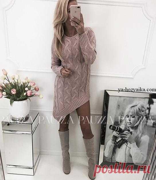 Платье спицами из объемных кос. Модное платье спицами 2018 описание