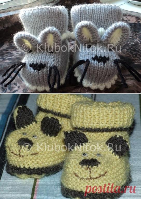 пинетки мишки братишки вязание для детей вязание спицами и
