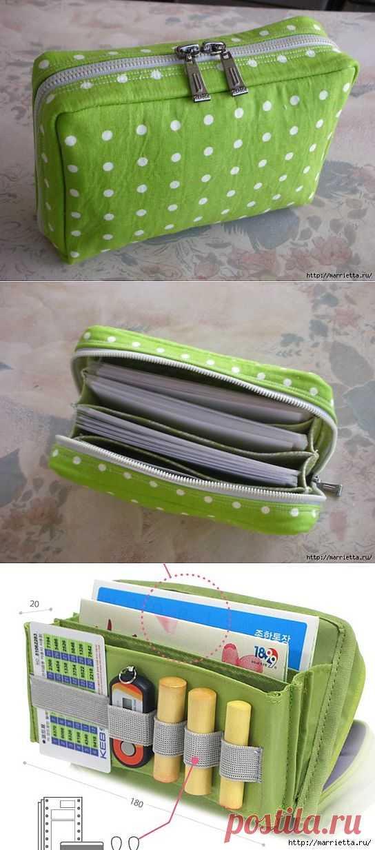 Как сшить сумочку-портмоне. Выкройка и мастер-класс.
