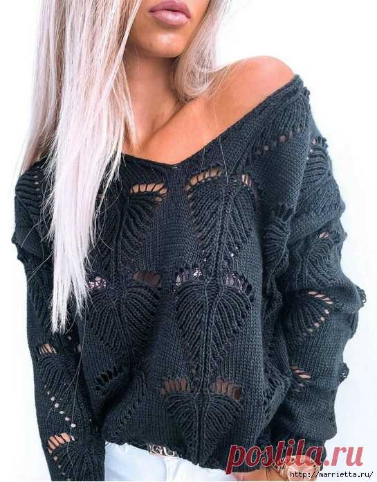 Пуловер спицами ажурным узором «Листик» - модный тренд сезона