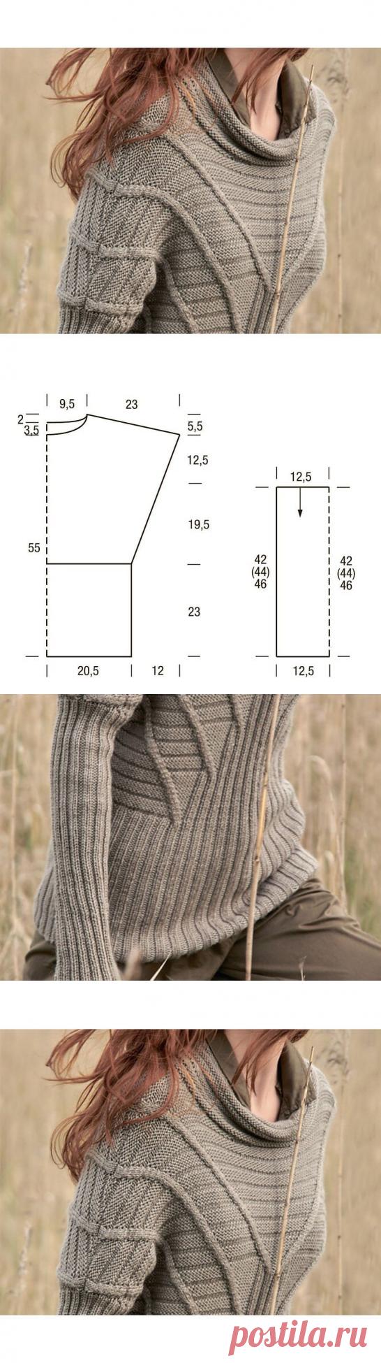Джемпер с расходящимися полосами (Вязание спицами) – Журнал Вдохновение Рукодельницы