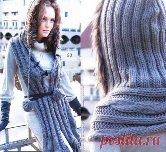 капюшон шарф спицами модный женский шарф 2017 2018г вязание для
