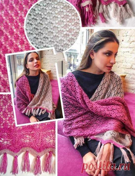 Вязание спицами - двухцветный палантин для женщин, схема вязания с описанием