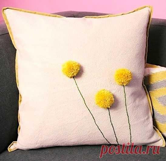 Подушка с одуванчиками (трикотаж) / Подушки / Модный сайт о стильной переделке одежды и интерьера