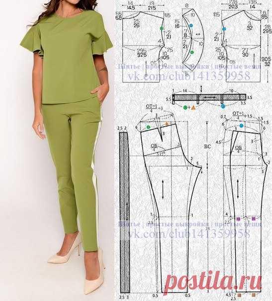 Брючный костюм - блузка с воланами на коротких цельнокроеных рукавах и узкие брюки с лампасами. Выкройка блузки на размеры 44/46 и 50/52 (рос.). #простыевыкройки #простыевещи #шитье #блузка #брючныйкостюм #брюки #выкройка